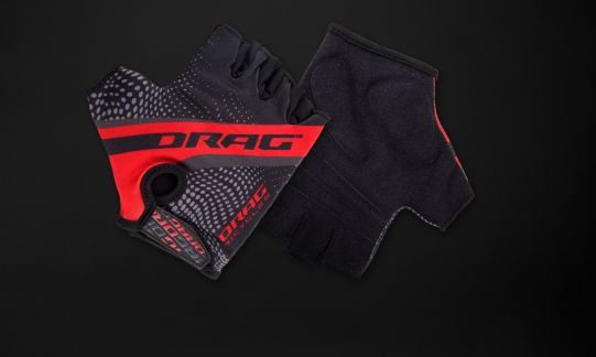 Drag Logo II Short Finger Gloves Lycra - black / red