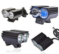 Hi-Tech LED X2 Bike light CREE XM-L U2 2000lm incl. 4800mAh battery, silicon rings and charger